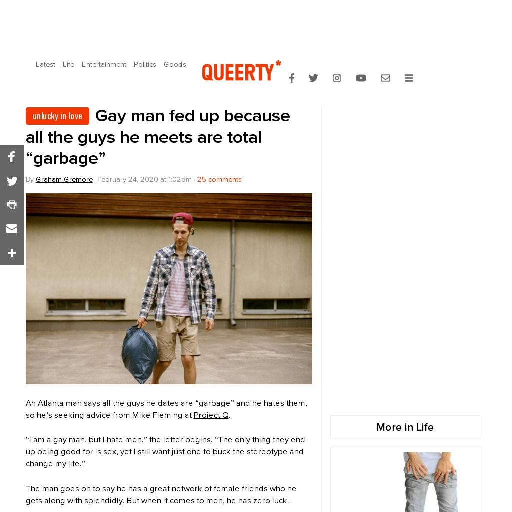 """Gay man fed up because all the guys he meets are total """"garbage"""""""