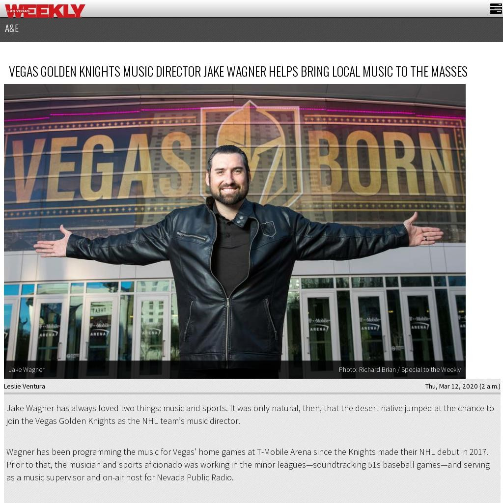 Vegas Golden Knights music director Jake Wagner helps bring local music to the masses