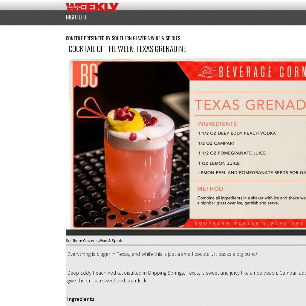 Cocktail of the Week: Texas Grenadine