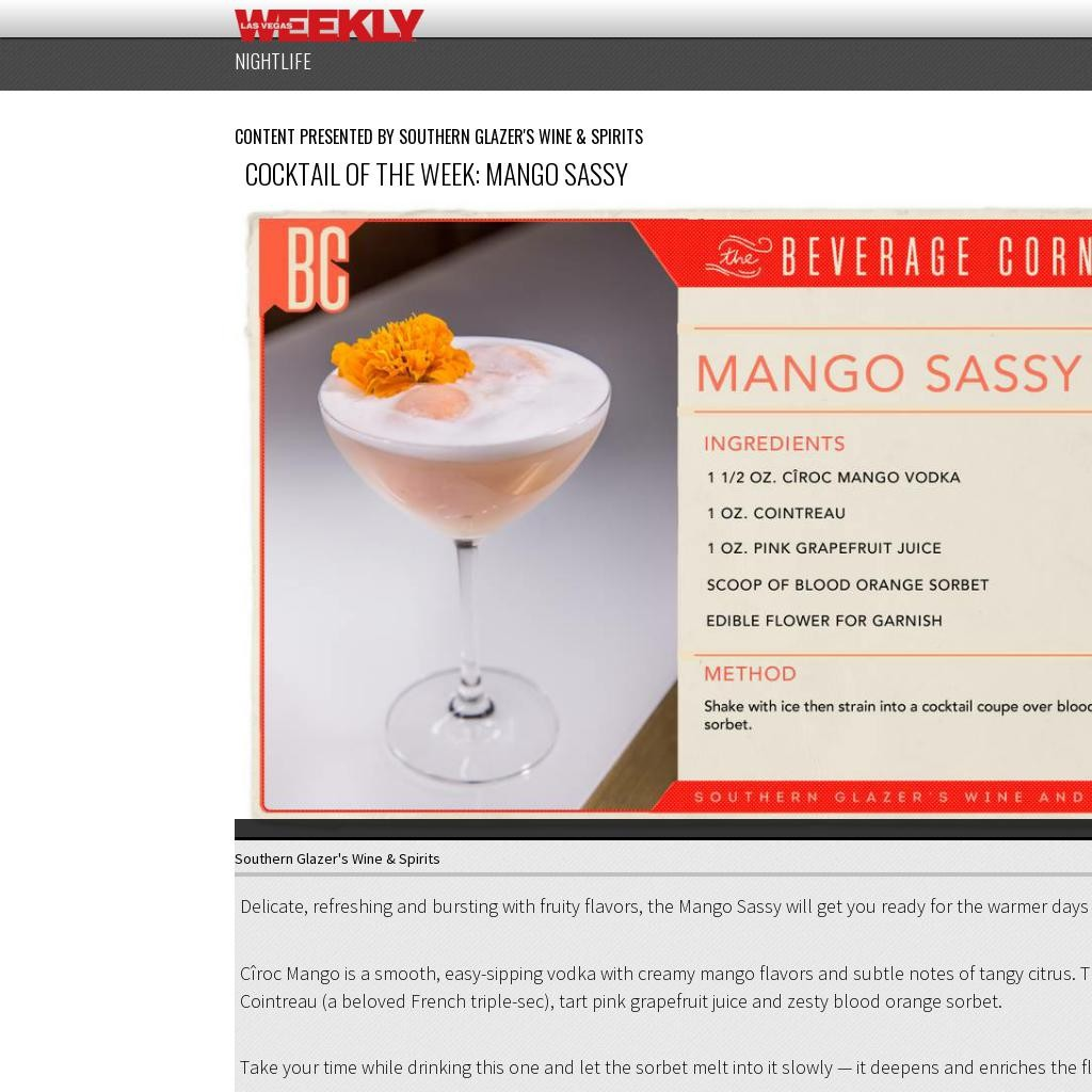 Cocktail of the Week: Mango Sassy
