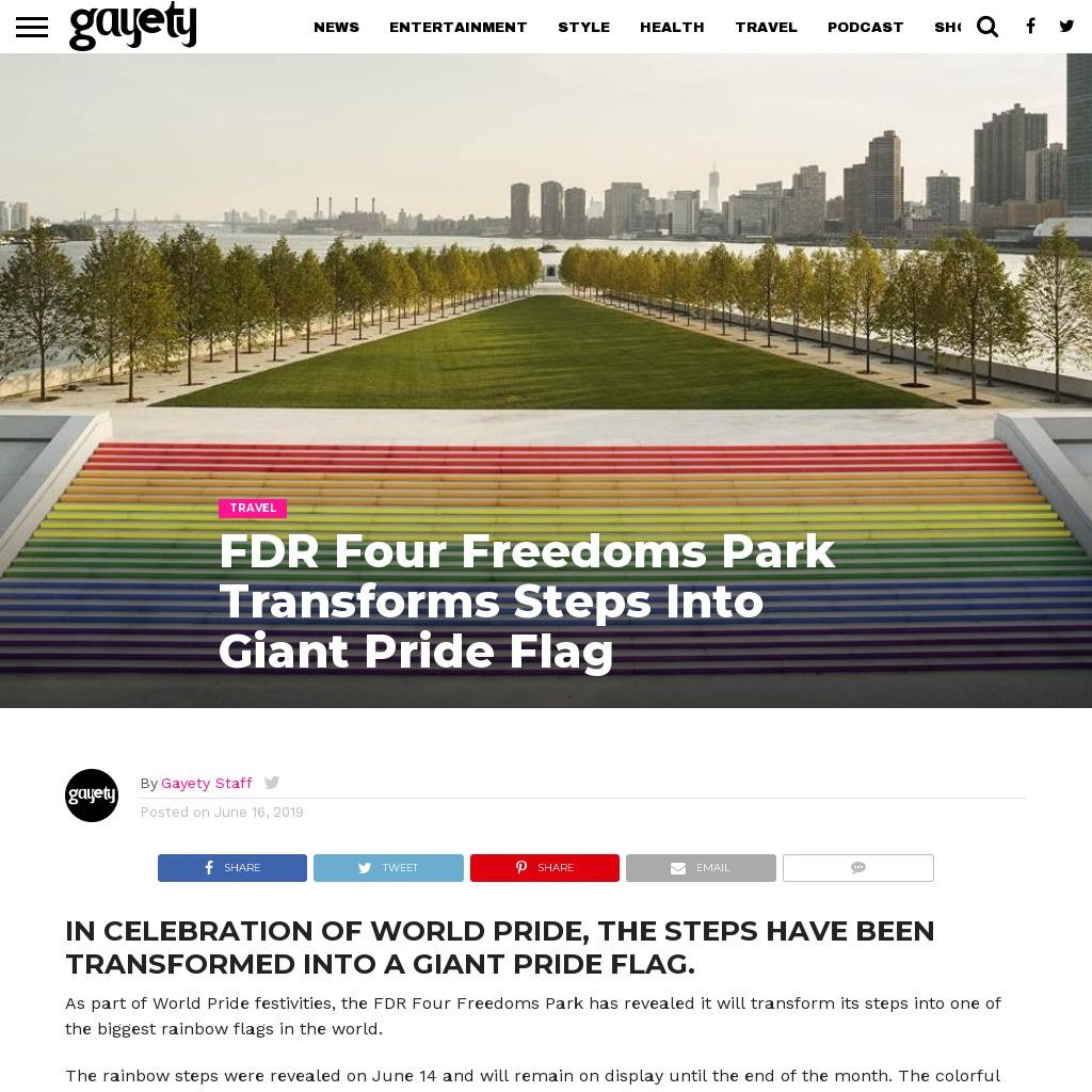 FDR Four Freedoms Park Transforms Steps Into Giant Pride Flag