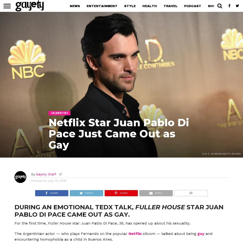Netflix Star Juan Pablo Di Pace Just Came Out as Gay