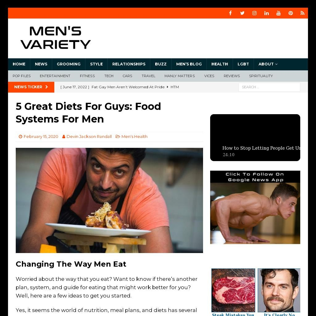 5 Great Diets For Guys: Food Systems For Men