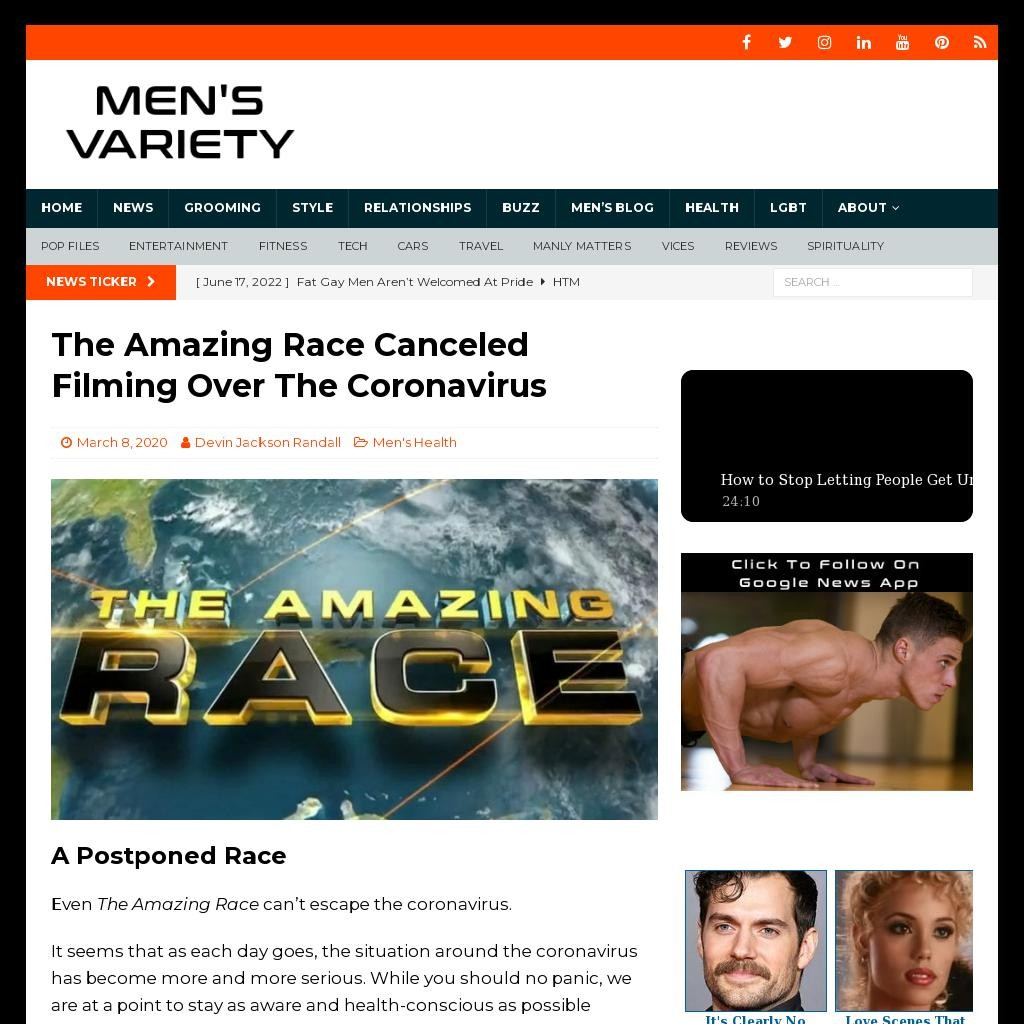 The Amazing Race Canceled Filming Over The Coronavirus