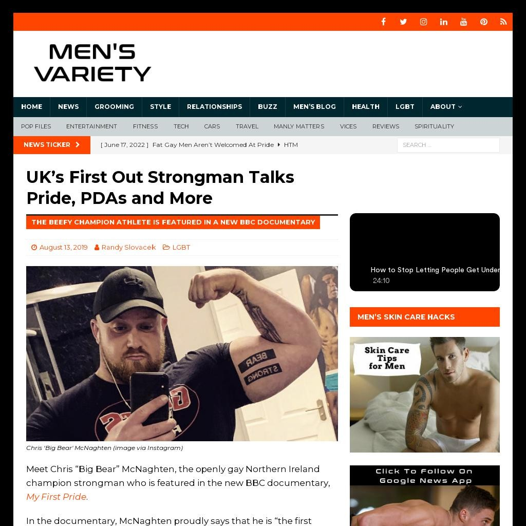UK's First Out Strongman Talks Pride, PDAs and More