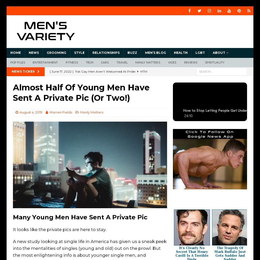 Almost Half Of Young Men Have Sent A Private Pic (Or Two!)