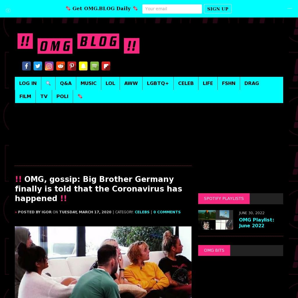 OMG, gossip: Big Brother Germany finally is told that the Coronavirus has happened