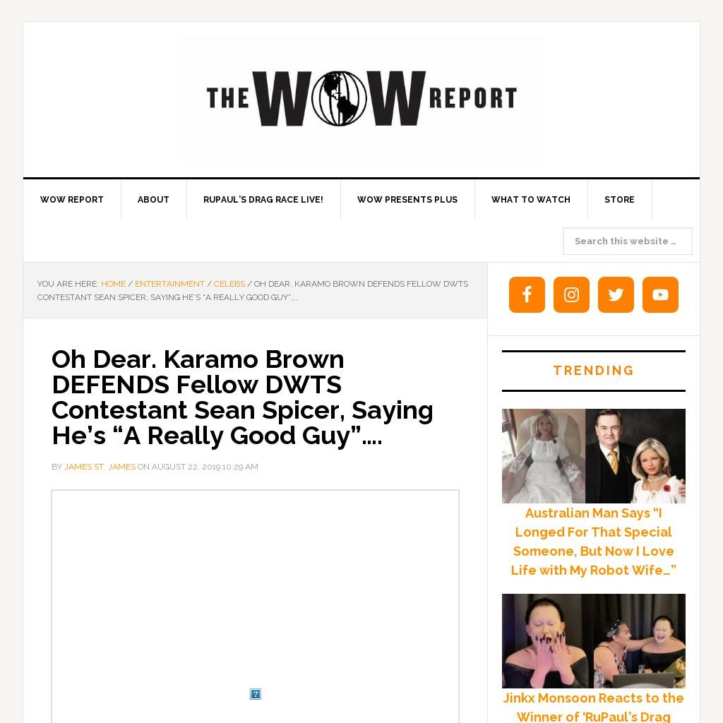 "Oh Dear. Karamo Brown DEFENDS Fellow DWTS Contestant Sean Spicer, Saying He's ""A Really Good Guy""…."