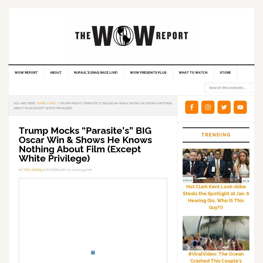 "Trump Mocks ""Parasite's"" BIG Oscar Win & Shows He Knows Nothing About Film (Except White Privilege)"