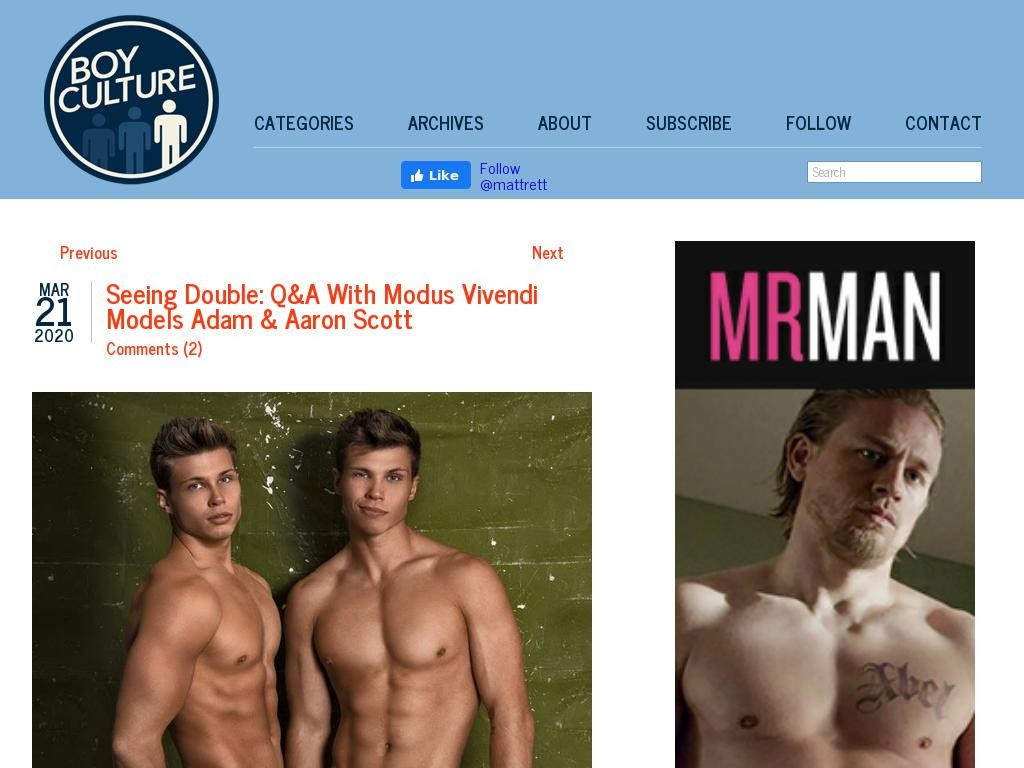 Seeing Double: Q&A With Modus Vivendi Models Adam & Aaron Scott