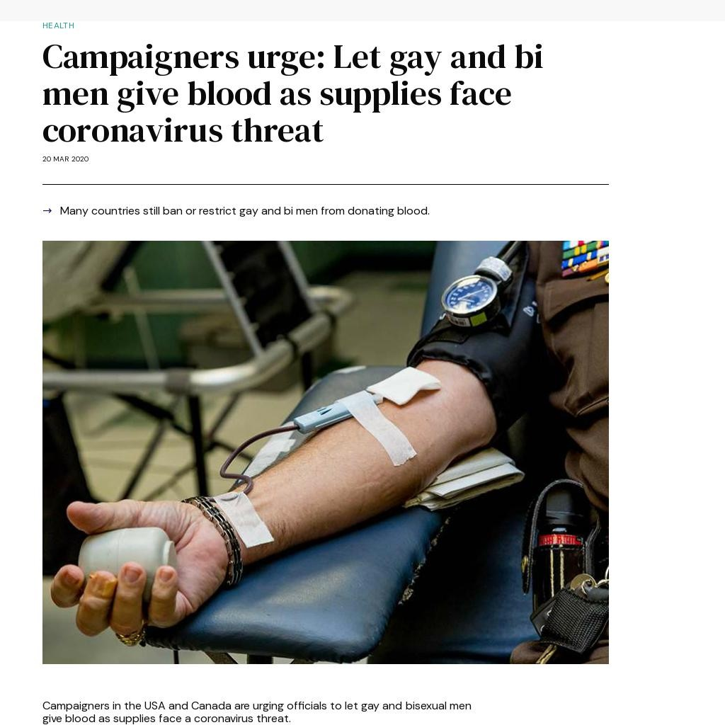 Campaigners urge: Let gay and bi men give blood as supplies face coronavirus threat