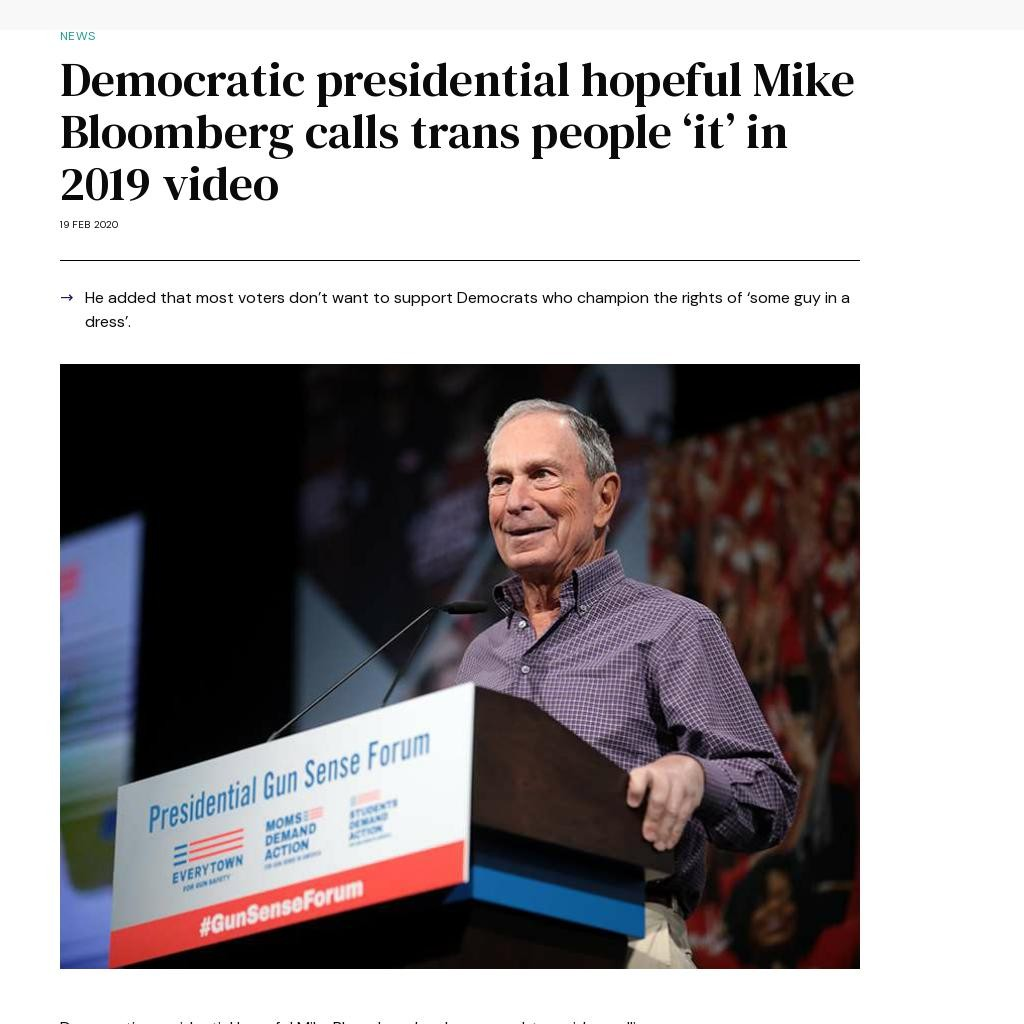 Democratic presidential hopeful Mike Bloomberg calls trans people 'it' in 2019 video