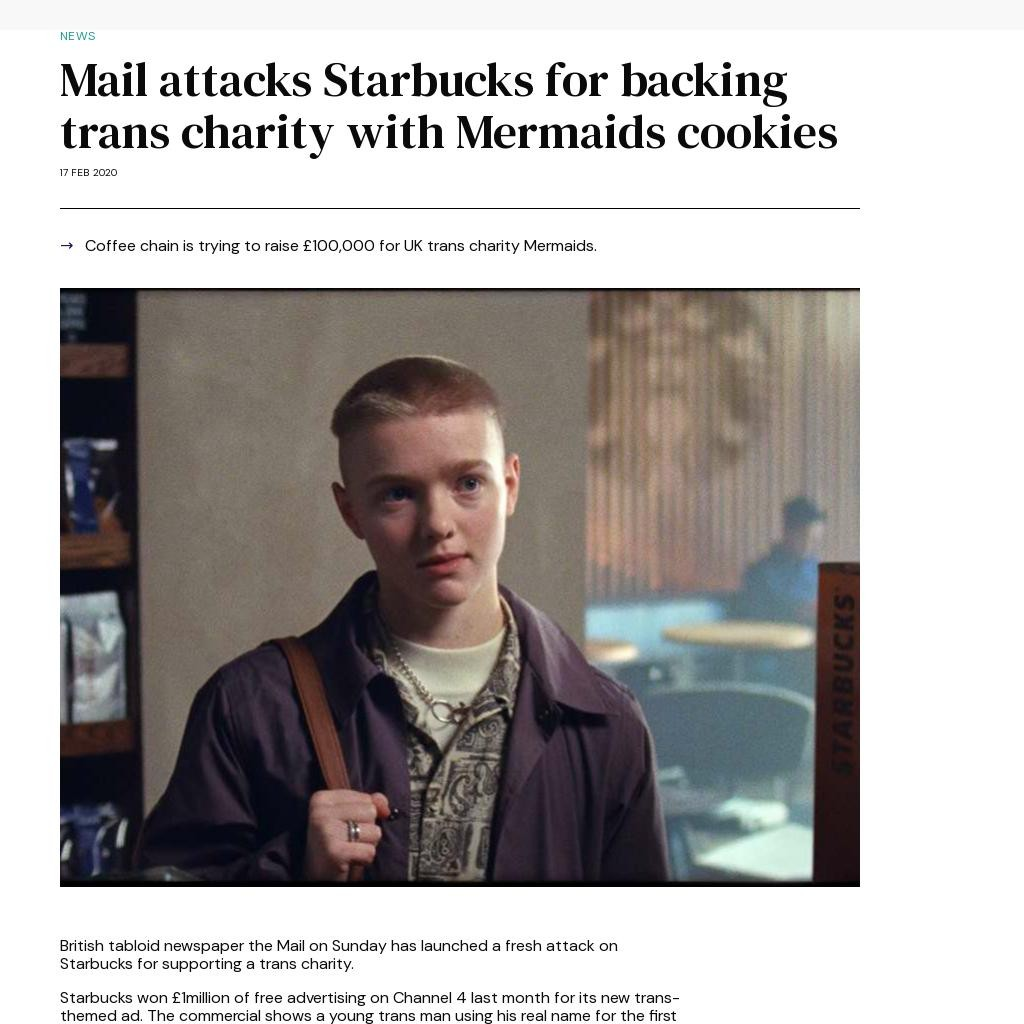 Mail attacks Starbucks for backing trans charity with Mermaids cookies