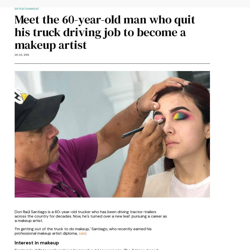 Meet the 60-year-old man who quit his truck driving job to become a makeup artist