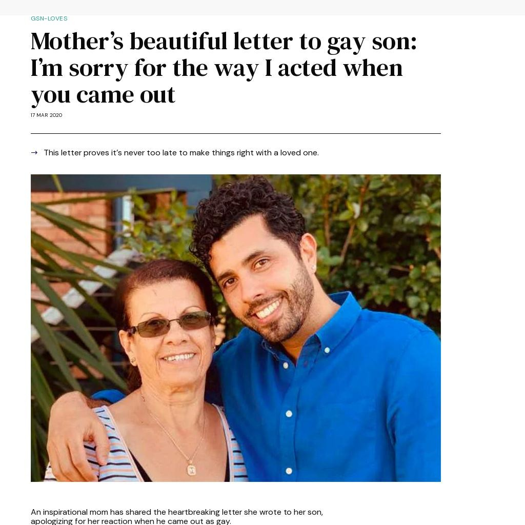 Mother's beautiful letter to gay son: I'm sorry for the way I acted when you came out