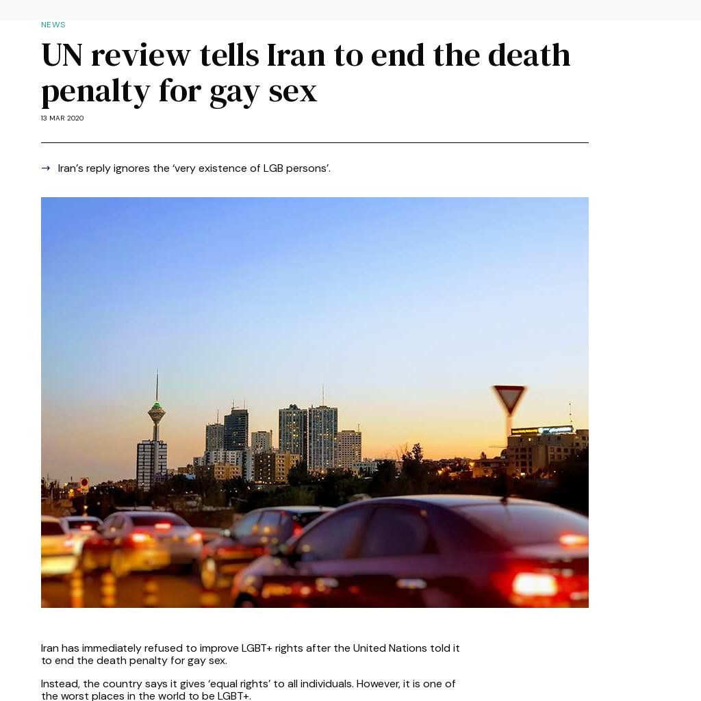 UN review tells Iran to end the death penalty for gay sex