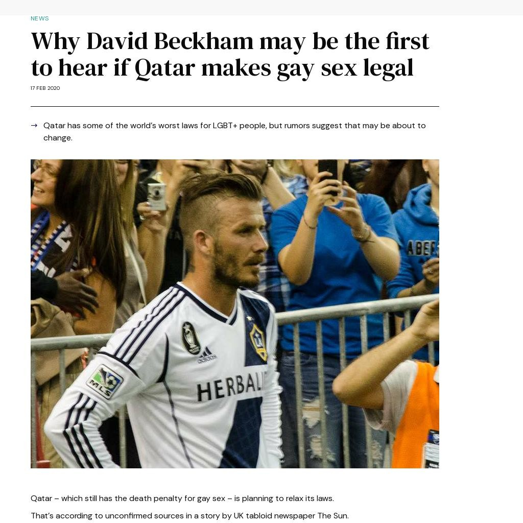 Why David Beckham may be the first to hear if Qatar makes gay sex legal