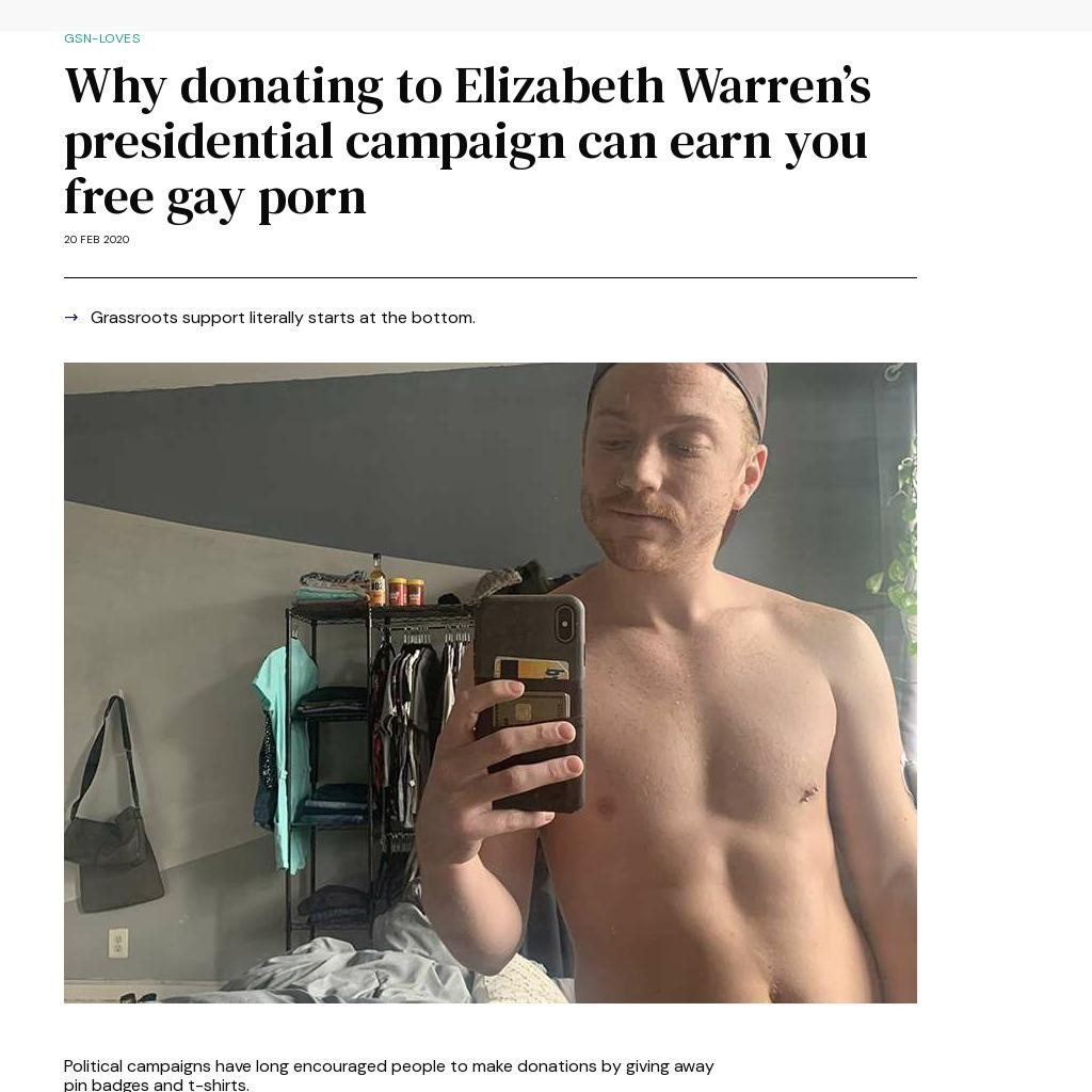 Why donating to Elizabeth Warren's presidential campaign can earn you free gay porn