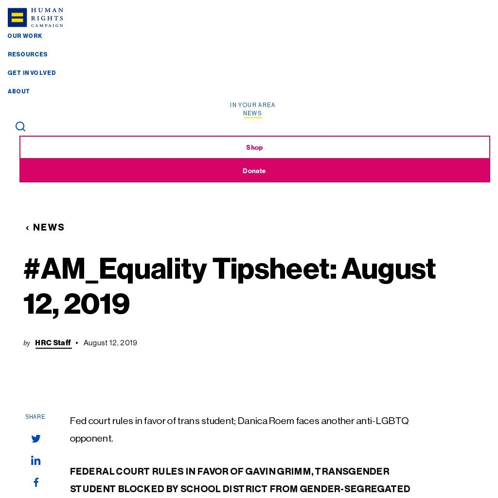 #AM_Equality Tipsheet: August 12, 2019