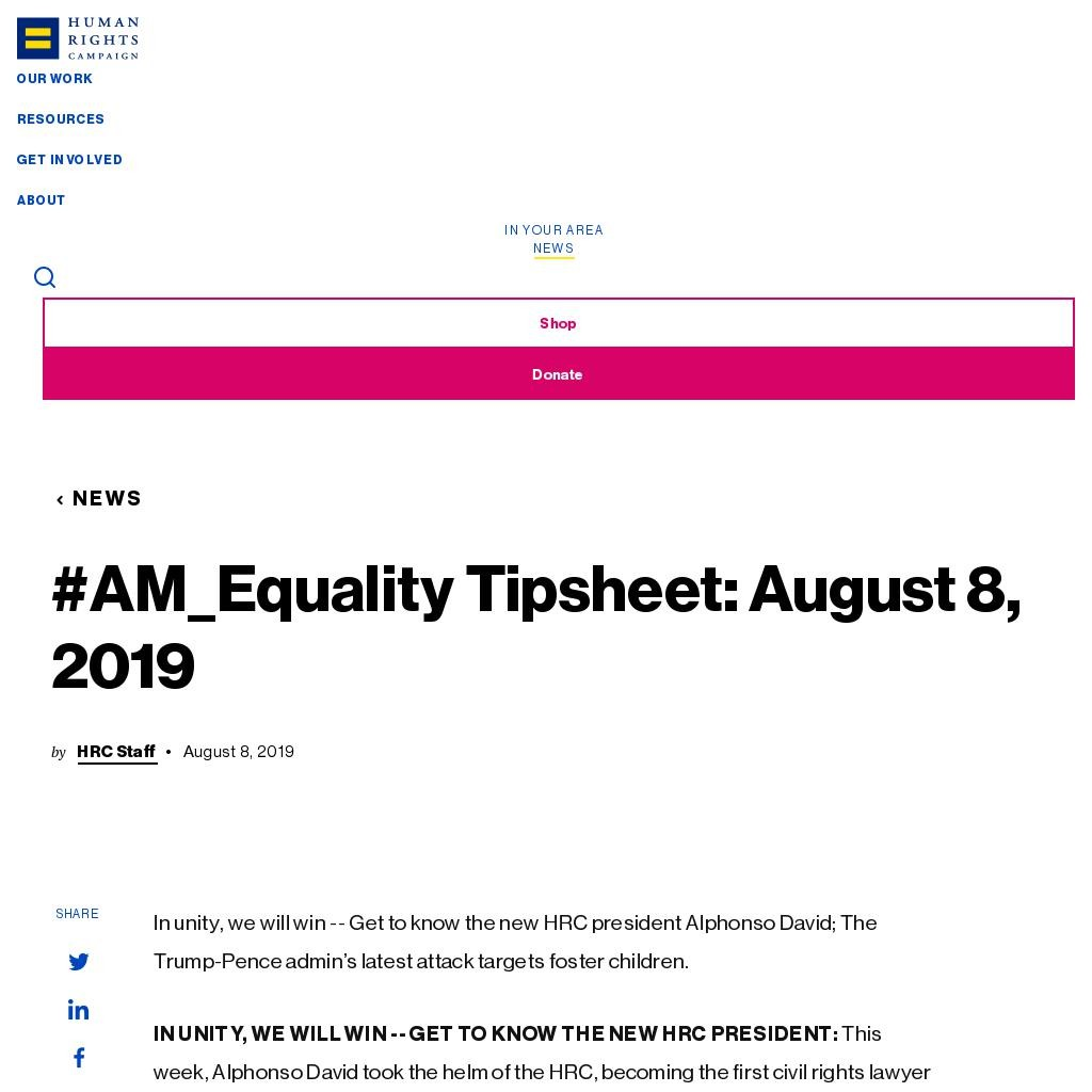 #AM_Equality Tipsheet: August 8, 2019