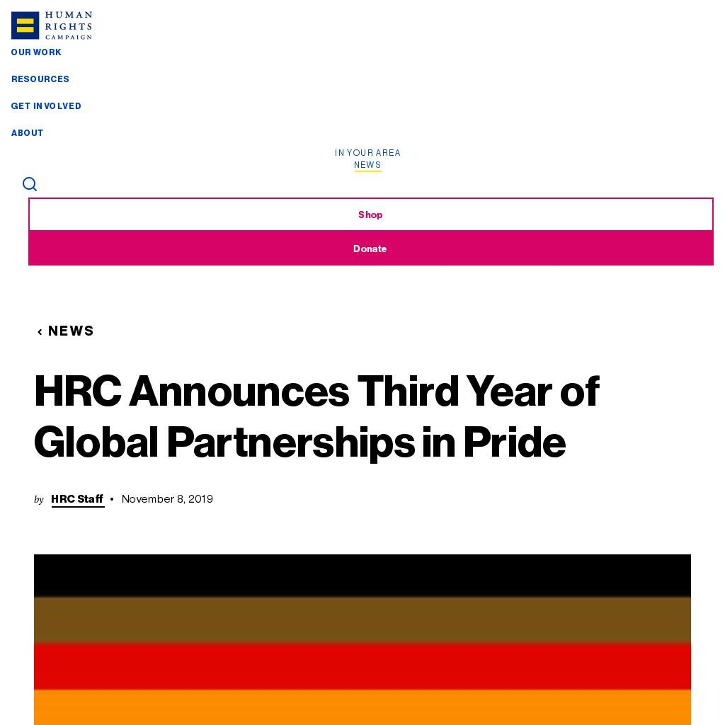 HRC Announces Third Year of Global Partnerships in Pride