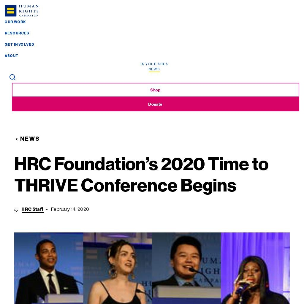 HRC Foundation's 2020 Time to THRIVE Conference Begins