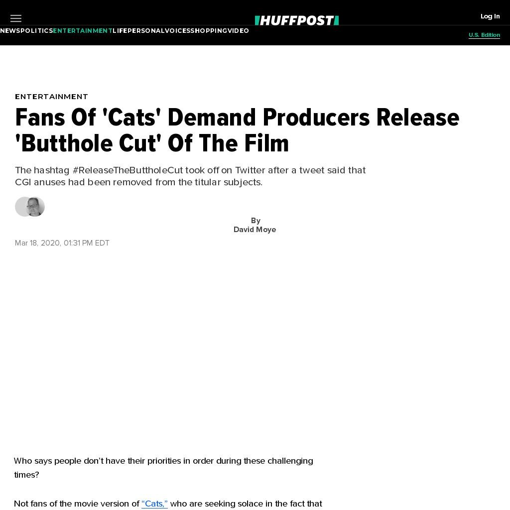Fans Of 'Cats' Demand Producers Release 'Butthole Cut' Of The Film