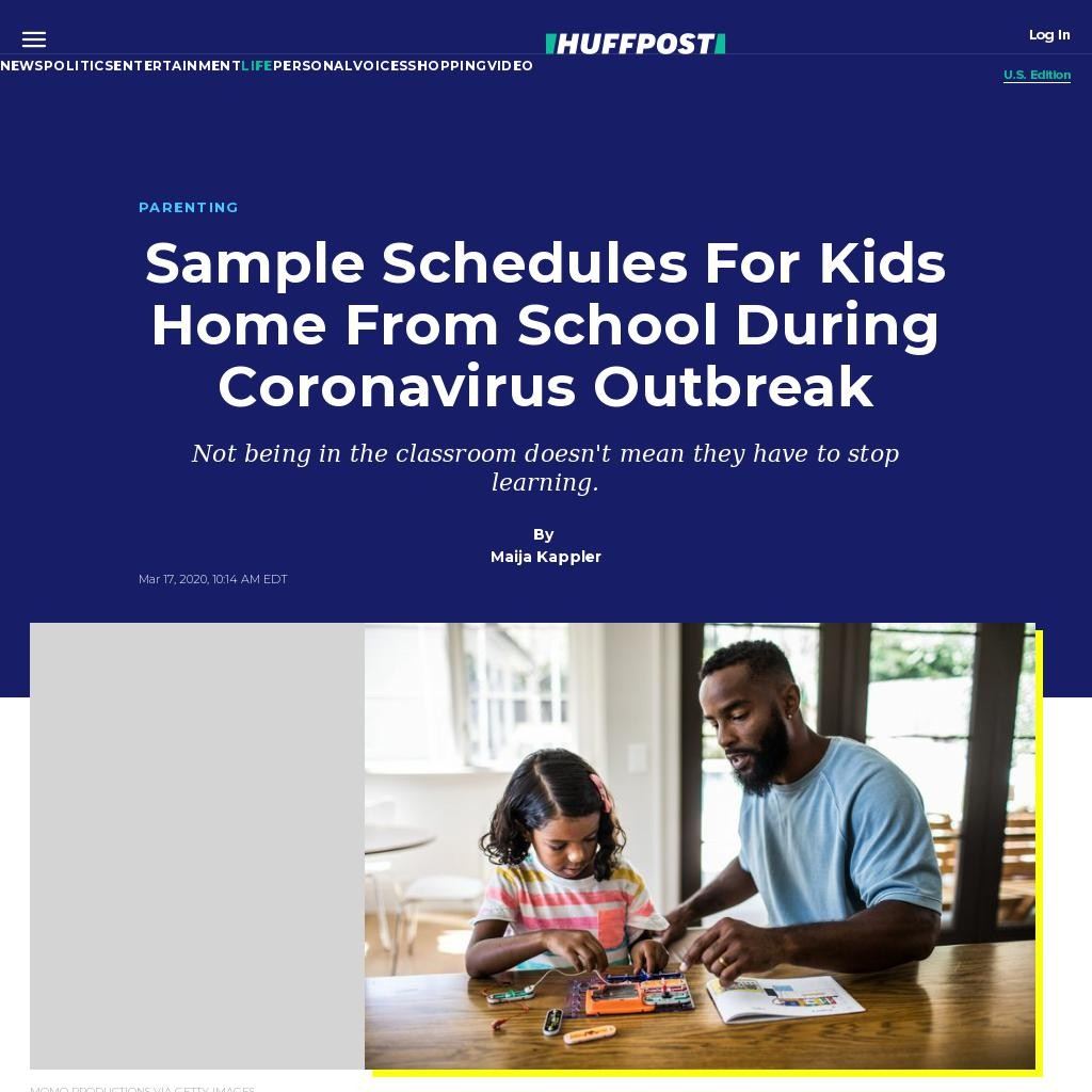 Sample Schedules For Kids Home From School During Coronavirus Outbreak