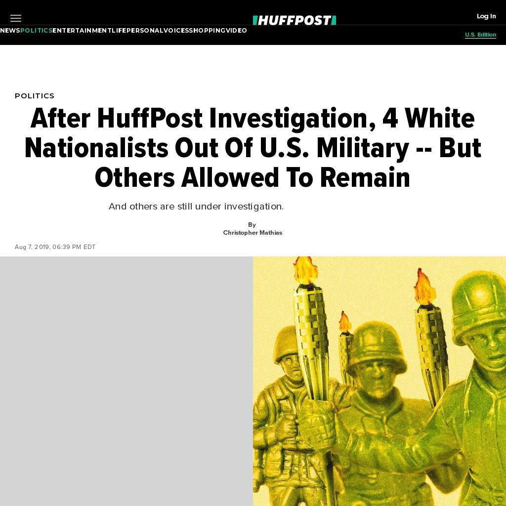 After HuffPost Investigation, 4 White Nationalists Out Of U.S. Military -- But Others Allowed To Remain