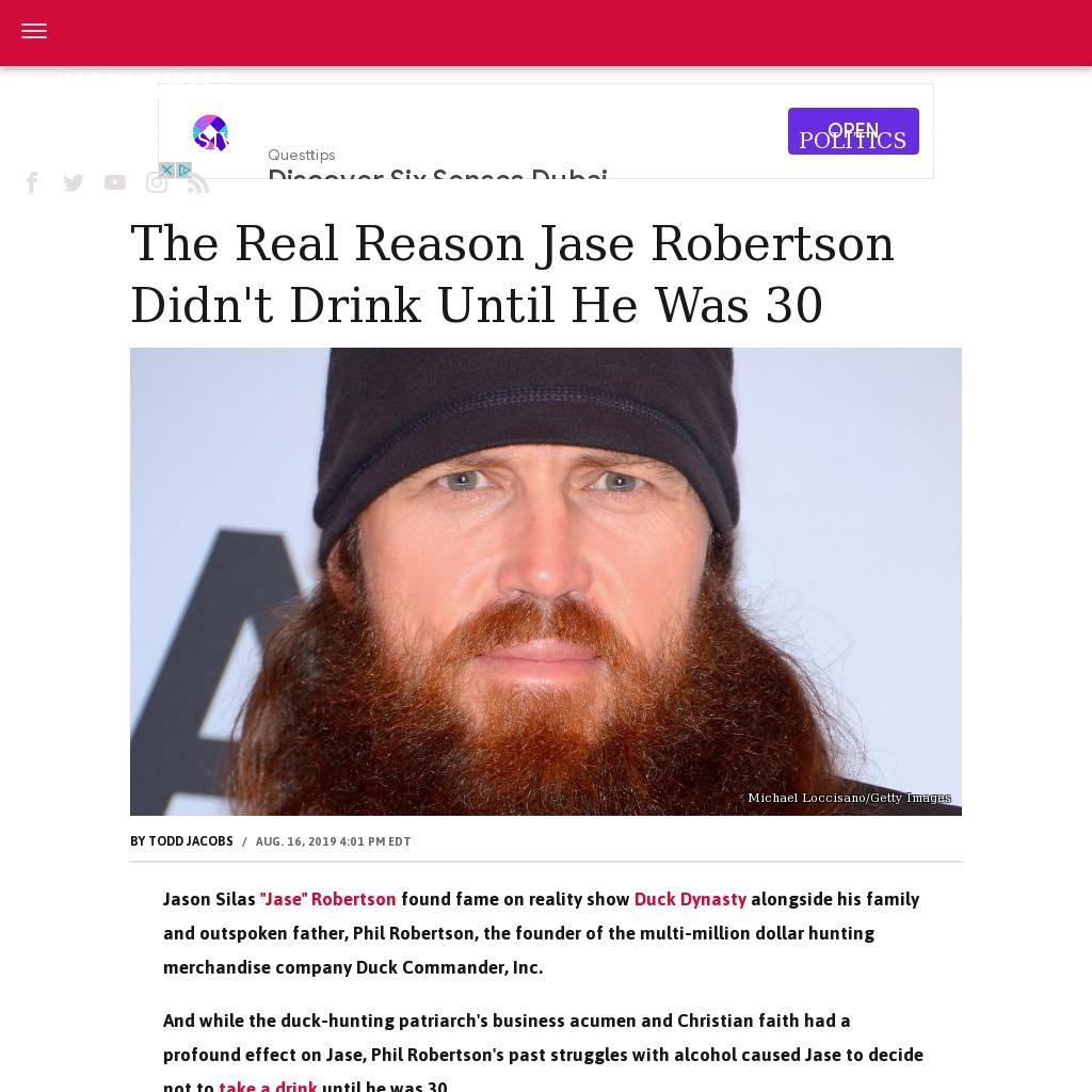 The real reason Jase Robertson didn't drink until he was 30