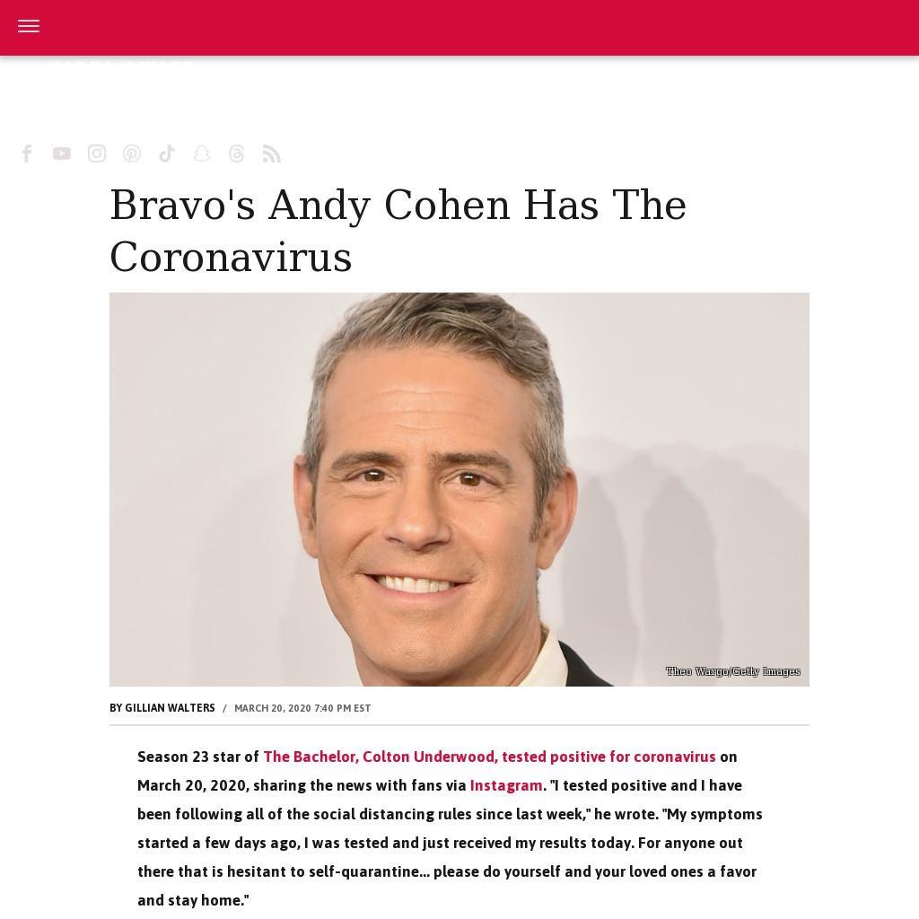 Bravo's Andy Cohen has the coronavirus