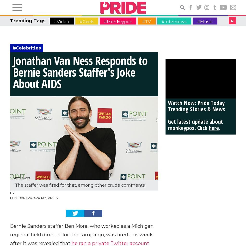 Jonathan Van Ness Responds to Bernie Sanders Staffer's Joke About AIDS