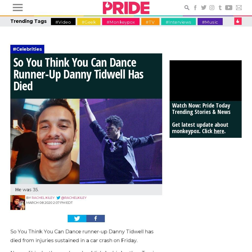 'So You Think You Can Dance' Runner-Up Danny Tidwell Has Died