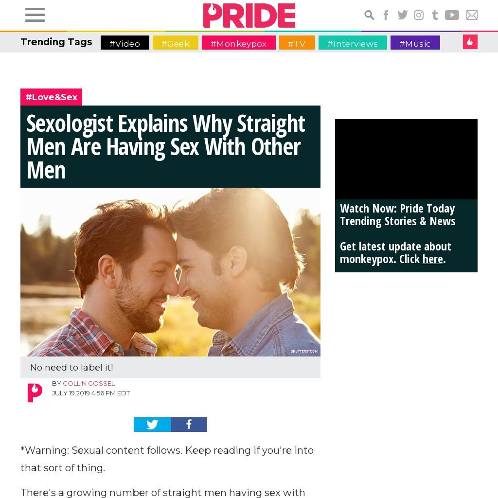 Sexologist Explains Why Straight Men Are Having Sex With Other Men