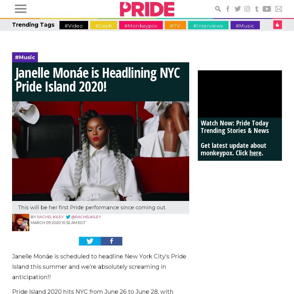 Janelle Monáe is Headlining NYC Pride Island 2020!