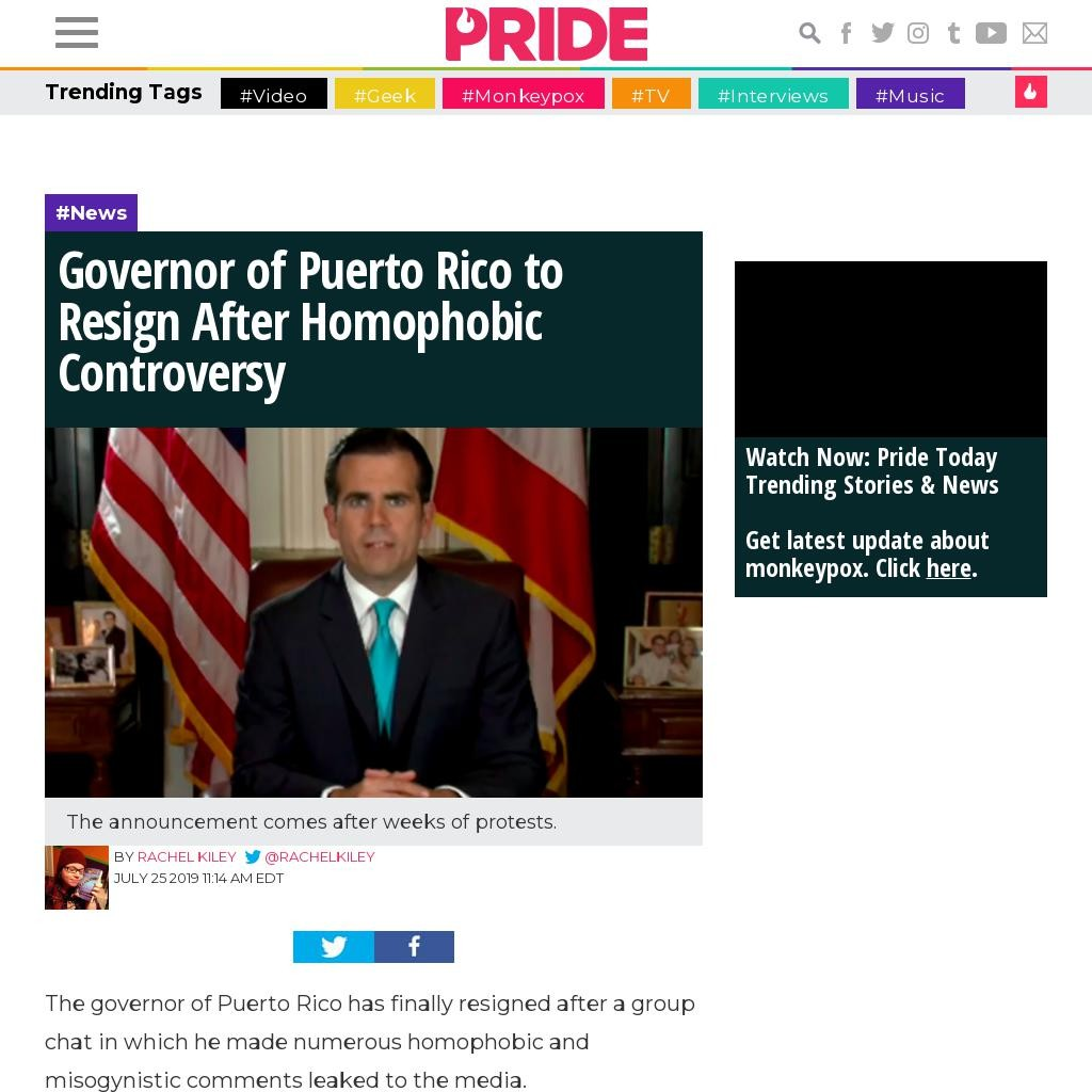 Governor of Puerto Rico to Resign After Homophobic Controversy