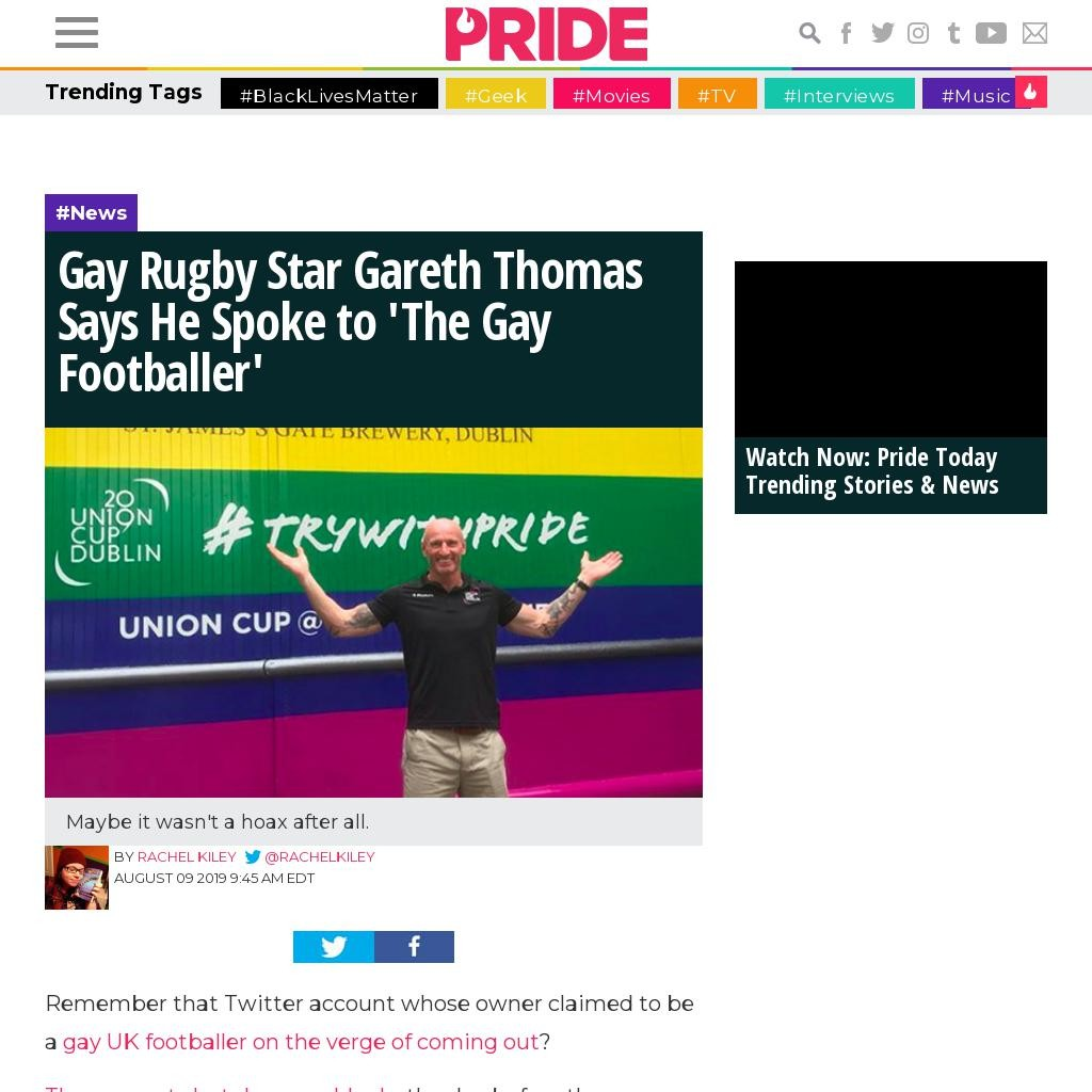 Gay Rugby Star Gareth Thomas Says He Spoke to 'The Gay Footballer'